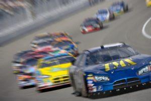 Stock car racing on track