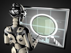 Female robot operating display in shape of screen with a big magnifying glass on it