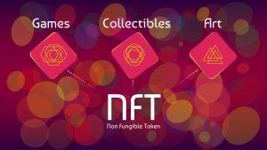 NFT non-fungible tokens infographics on colorful abstract background.
