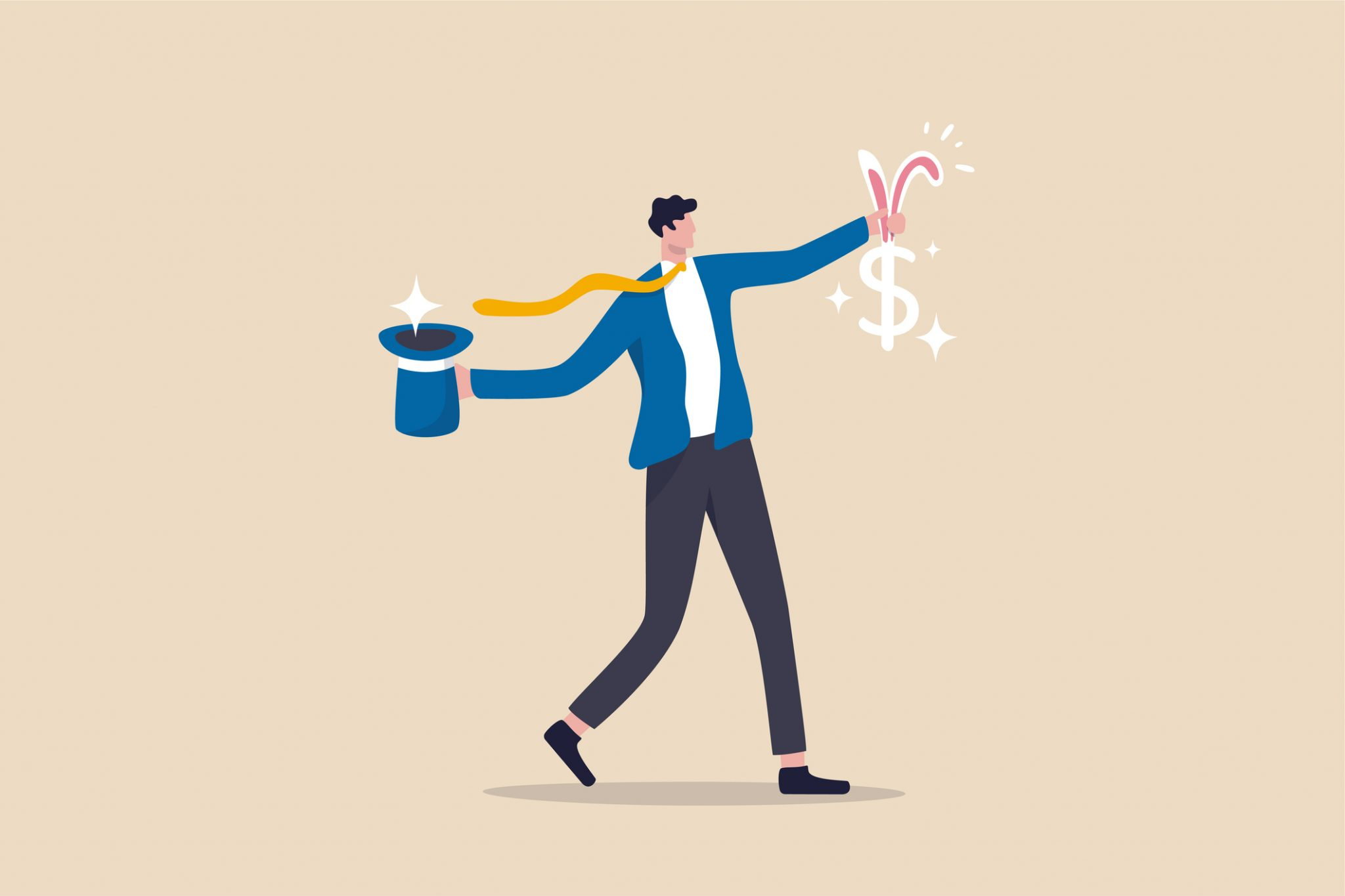 Illustration of man pulling dollar sign with rabbit ears out of top hat