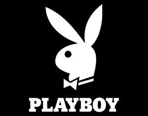 Playboy magazine logo of a stylized bunny head from the side wearing a bow tie and with Playboy spelled out